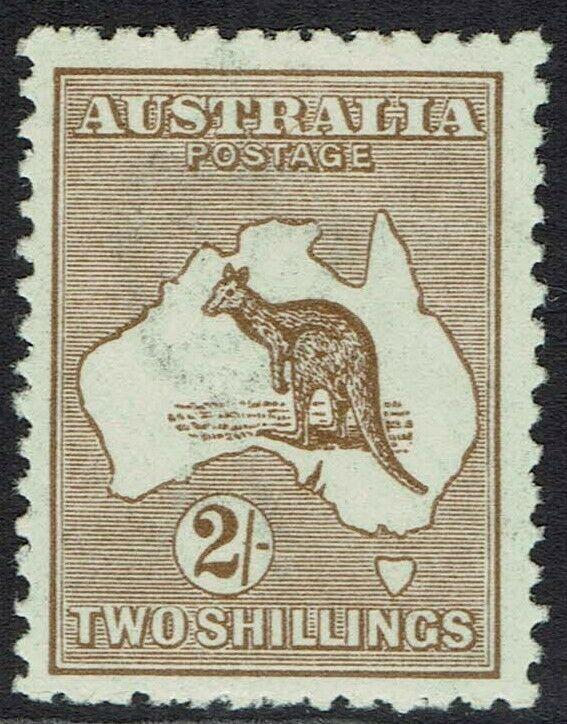 AUSTRALIA 1915 KANGAROO 2/- BROWN 3RD WMK