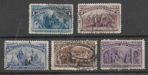 Doyle's_Stamps: 1893 Lot of Used Columbians, Scott #230-#231 & #233-#235