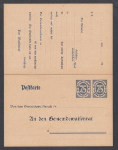Germany Mi DP10 mint. 1922 75pf Official Letter Answer Card, sound, scarce.