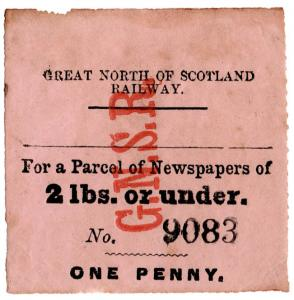 (I.B) Great North of Scotland Railway : Newspaper Parcel 2lbs