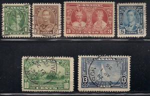 Canada 211-216 Used - George V Silver Jubilee