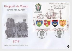 H01 Monaco 2019 Historical Sites of hte Grimaldis of Monaco FDC