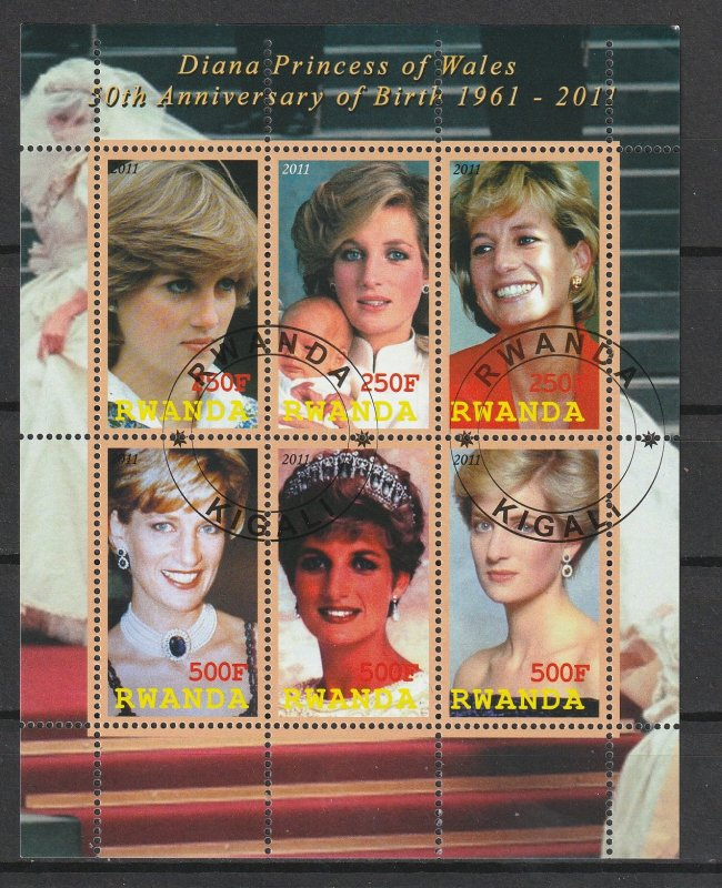 Rwanda S/S Used 50th Anniversary Birth Princess Diana 2011