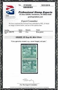 1059 Mint,OG,NH... Pair w/Large Holes... PSE Graded 95 XF-Superb...SMQ $70.00