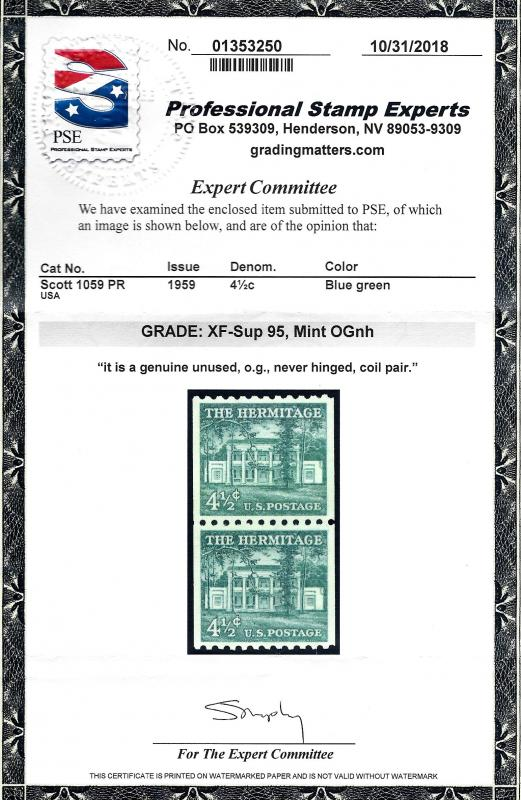 1059 Mint,OG,NH... Pair w/Large Holes... PSE Graded 95 XF-Superb...SMQ $70.00