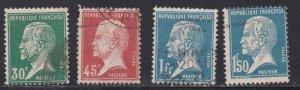 France # 189, 190, 194 & 196, Louis Pasteur, Used, 1/3 Cat.