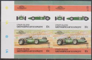 St. Vincent Grenadines Union Island - 1986 10c BRM Classic Car Imperf Block mint