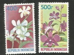 Indonesia MNH 1348-9 Orchids Flowers 1988 SCV 4.50