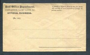 Post Office, Saint Louis MO Official Business No 1-A Penalty Envelope Unused