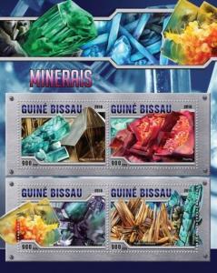 Guinea-Bissau - 2016 Minerals - 4 Stamp Sheet - GB16301a