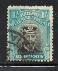 Rhodesia Sc 130 1913 1/ Turquoise blue  & black George V  stamp used