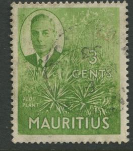 Mauritius - Scott 237 - KGVI Definitive Issue -1950 - FU -Single 3c Stamp