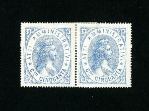 Italy Stamps Revenue Pair Mint from 1880s