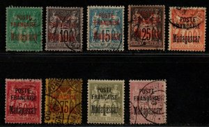 $Madagascar Sc#14-22 used, F-VF, complete set, couple have sm. faults, Cv. $425