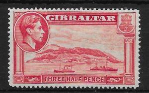 GIBRALTAR SG123 1938 1½d CARMINE p14 MNH