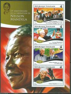 TOGO 2015 25th LIBERATION ANNIVERSARY  OF NELSON MANDELA SHEET  MINT NH