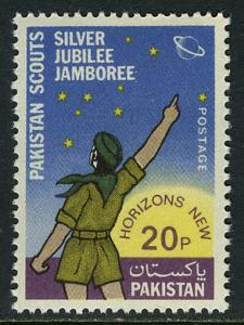 Pakistan 355, MNH. Pakistani Boy Scouts, 25th anniv. Planet, Stars, 1973