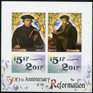 RWANDA 2017 50th ANN OF THE REFORMATION IMPR SHEET  LUTHER & JOHN CALVIN MINT NH