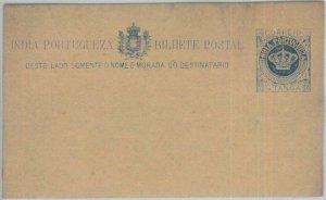 82128 - PORTUGAL Portuguese India -  POSTAL HISTORY -  STATIONERY CARD  HG # 1