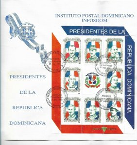 DOMINICAN REPUBLIC 2001 PRESIDENTS MINIATURE SHEET ON FIRST DAY COVER FDC COAT