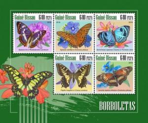Guinea-Bissau - 2018 Butterflies & Flowers - 5 Stamp Sheet - GB18905a