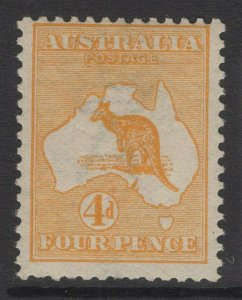 AUSTRALIA SG6a 1913 4d ORANGE-YELLOW MTD MINT