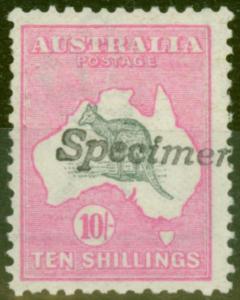 Australia 1913 10s Grey & Pink Type A Specimen SG135 BW47x Var Fine MNH