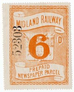 (I.B) Midland Railway : Prepaid Newspaper Parcel 6d (large format)