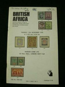 ROBSON LOWE AUCTION CATALOGUE 1979 BRITISH AFRICA CAPE GAMBIA & MAURITIUS ETC