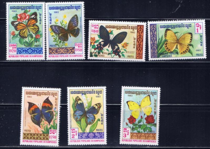 Cambodia 386-92 MNH 1983 Butterflies