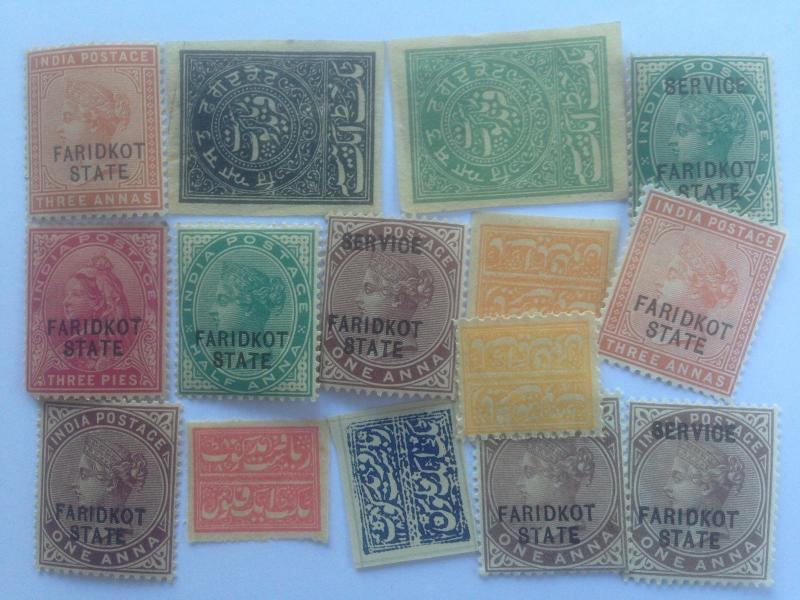15 Different Indian States Stamp Collection - Faridkot