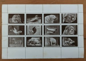 Poster Stamps Great Britain Animals of London Zoo Set of 12 Brown MNH Perforated