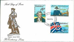 BOATS - FDC COVER : NORFOLK ISLAND 1978 : CAPITAIN COOK