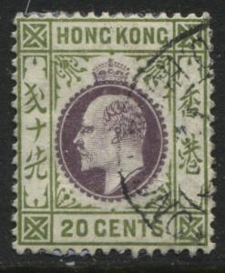 Hong Kong KEVII 1904 20 cents olive green & violet used