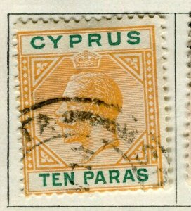 CYPRUS; 1921 early GV issue fine used 10pa. value