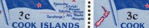 1967 Cook Islands Sg 209 3c on 4d Demical Currency Damaged Overprint Value UMM