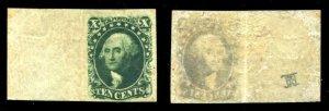 HERRICKSTAMP UNITED STATES Sc.# 15 Superb LH 1855 Type III OG, Wide Margin