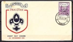 Pakistan, Scott cat. 101 only. 2nd National Jamboree issue. First day cover.