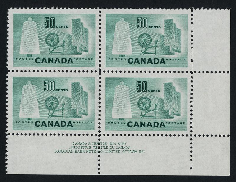Canada 334 BR Block Plate 1 MNH Textile Industry