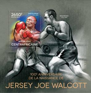 Central Africa - 2014 Boxer Jersey Joe Walcott  Stamp S/S 3H-730