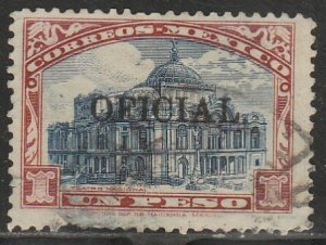 MEXICO O190 $1P OFFICIAL. PALACE OF FINE ARTS. Used, SM MARGIN THIN F-VF (1362)
