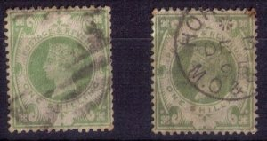 Great Britain Scott #122 (x 2),(Sg 211)Used One Shilling Green Cat.$130
