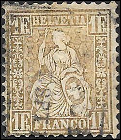 1862 SWITZERLAND  SC# 50a USED F CV $440.00