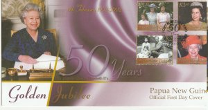 Papua New Guinea FDC Golden Jubilee QE II 2002 4 Stamps