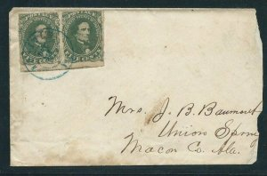 CSA #1, PAIR ON COVER TIED WITH BLUE CIRCULAR DATE STAMP -  SCV: $500.00