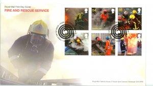 Great Britain 2009 FDC  Fire and Rescue Service Fire Hose Cancel Sc# 2680-85