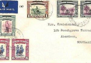 NORTH BORNEO Air Mail Cover SABAH *Jesselton* Overprints GB Scotland 1948 GV122