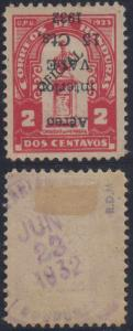 HONDURAS 1932 AIRPOST Sc C73b INVERTED SURCHARGE HINGED MINT F,VF