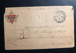 1918 Fieldpost Canada On Active Service Censored YMCA WW1 Cover to Hamilton