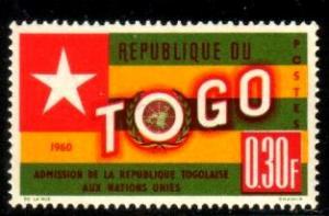 Flag of Togo & UN Emblem, Togo stamp SC#386 MNH